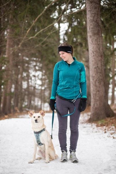 Kurgo Freihand Hunde-Leine - Flexi Leine Gürtel mit verstellbarem Bauchgurt für Rennen
