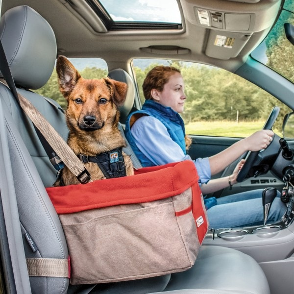 Kurgo Skybox Sitzerhöhung Auto für Hunde & Haustiere, Hunde Autositz, inkl. Hunde Anschnallgurt